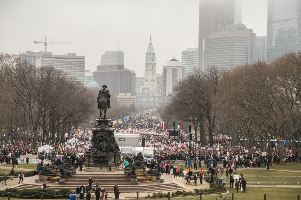 The Women's March on Philadelphia drew over 50,000 people to the Parkway on Saturday. Photo: Kristi Petrillo/The Declaration